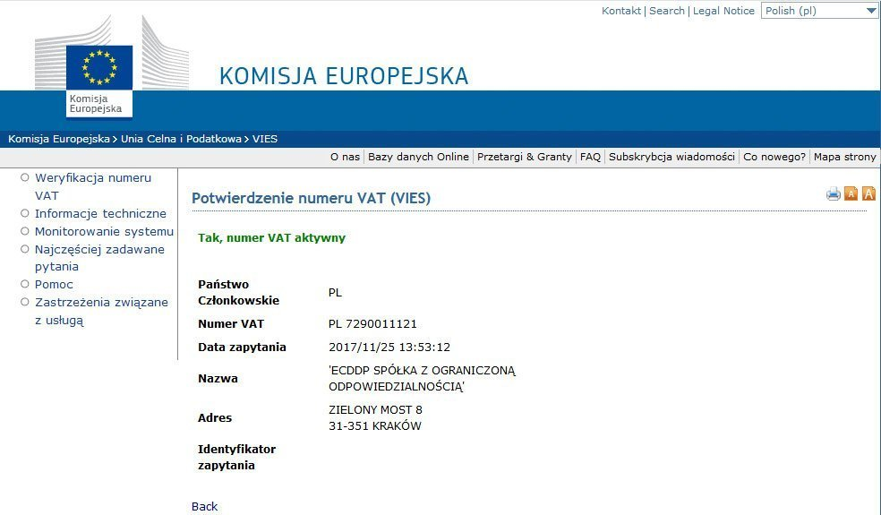 Potwierdzenie numeru VAT